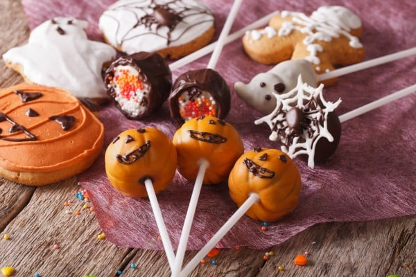 Festive Halloween sweets close-up on the table. horizontal