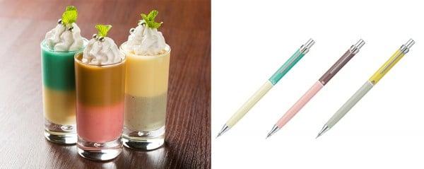 超極細シャープペン「オレンズ・マニッシュライン(限定品)」をイメージしたバイカラーのプリン(¥650)