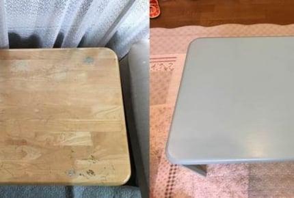 DIY初心者が、落書きだらけのテーブルをセリアの水性塗料でリメイクしてみました