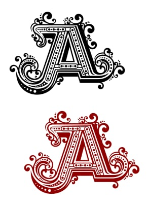 Capital letter A with flourishes