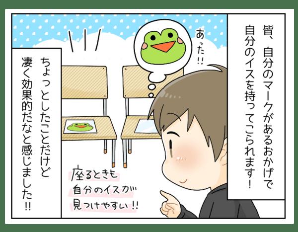 この「カエル」のマークがあることで 自分のイスと、お友達のイスが分かり 迷わずに座る、荷物をカゴに入れることが出来ます。