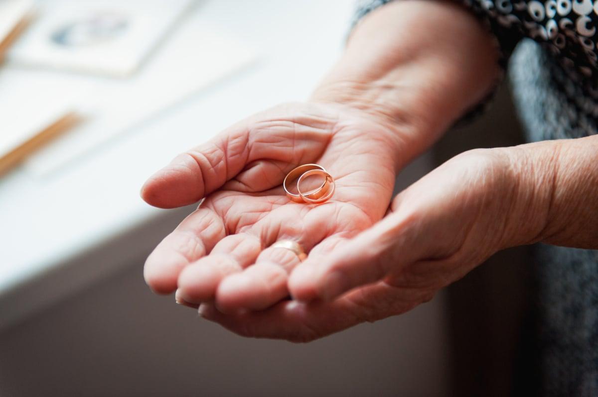 Hand 86th-years old Ukrainian women holding ring