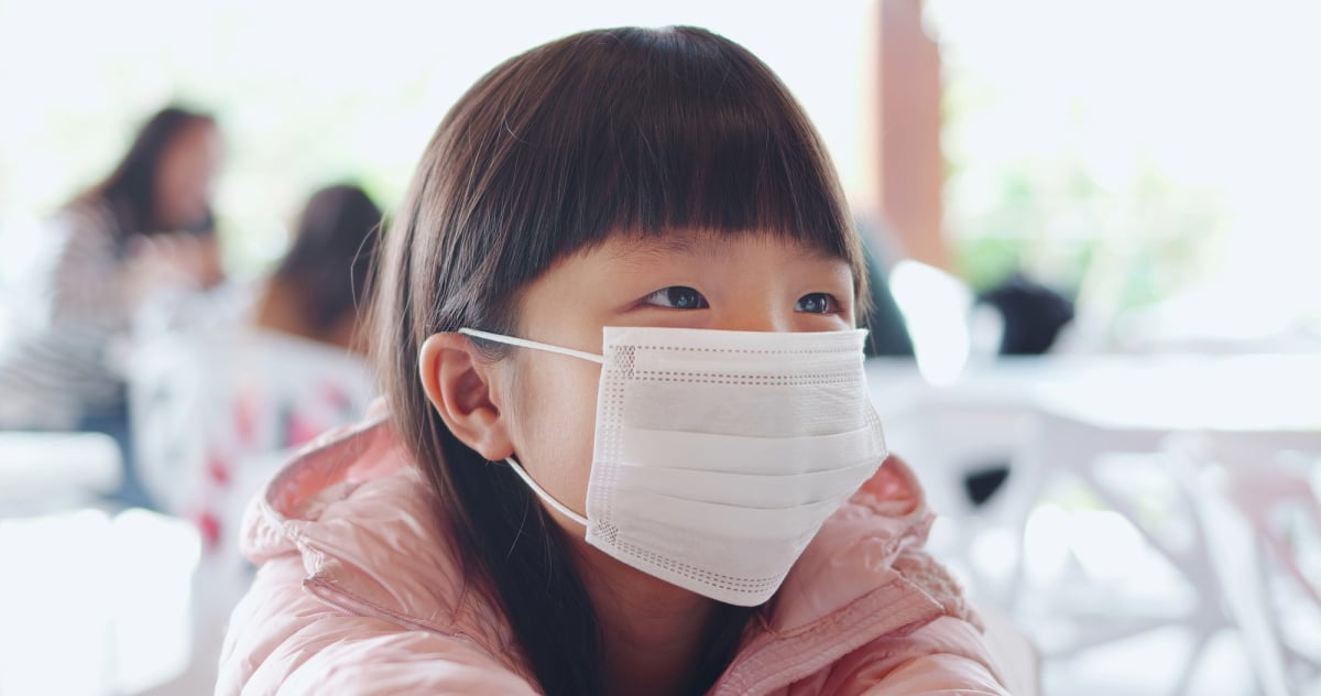 children with protective mask