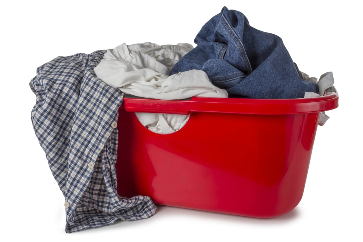 Red Laundry Basket with clothes