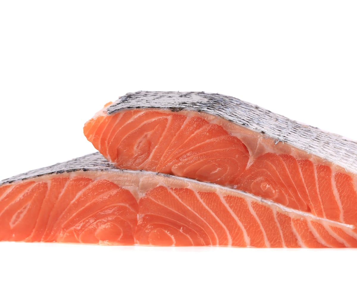 Salmon fillet two together.