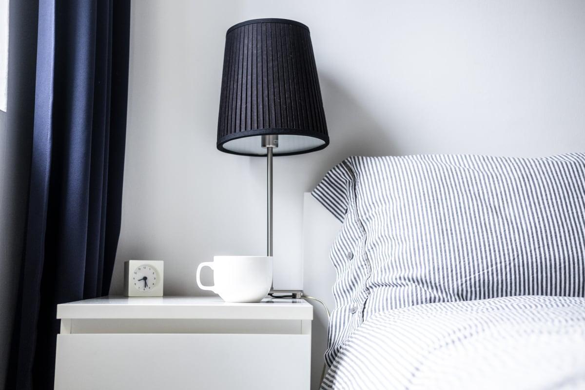 White dark blue minimalist bedroom design