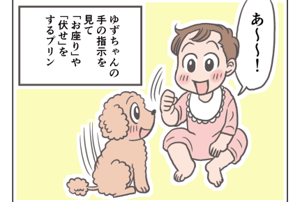 【娘と愛犬プリンの成長記14話】赤ちゃんとの遊びで大興奮 #4コマ母道場