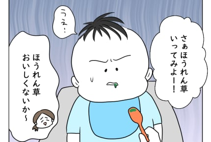 <離乳食チャレンジ>それ!ほうれん草・かぼちゃ・しらす!いかがですか【どすこいママ育児104話】