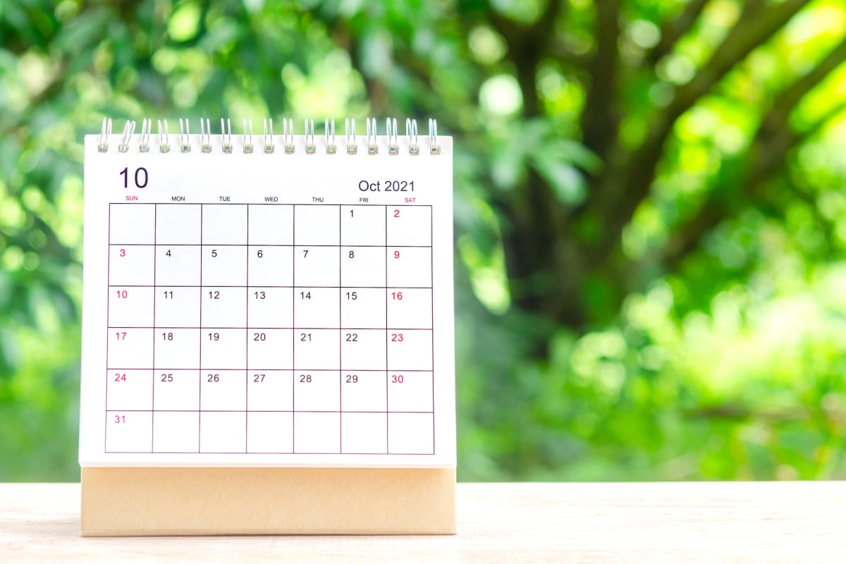 October month, Calendar desk 2021 for organizer to planning and