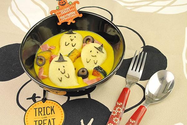 ハロウィンレシピ・おばけニョッキ~濃厚かぼちゃクリームソース~