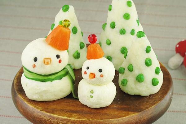 クリスマスレシピ☆マッシュポテトのスノーマンとツリー
