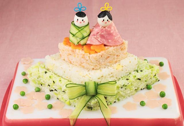 ひなまつりレシピ・3段ひし形寿司ケーキ