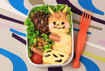 【節分の可愛い鬼弁当】イワシの金棒にトラ柄パンツの卵焼き!
