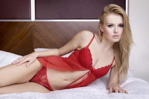 blonde woman in red lingerie