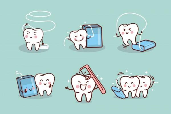 cartoon tooth with dental floss